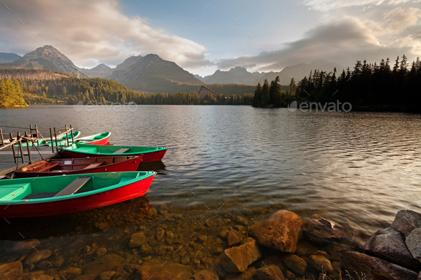 Boat station on lake Strbske pleso near High Tatra Mountains - Stock Photo - Images