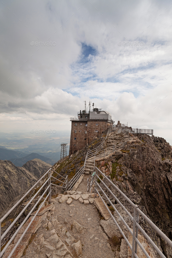 Upper station of the cable railway on Lomnicky Stit peak in High Tatra mountains - Stock Photo - Images
