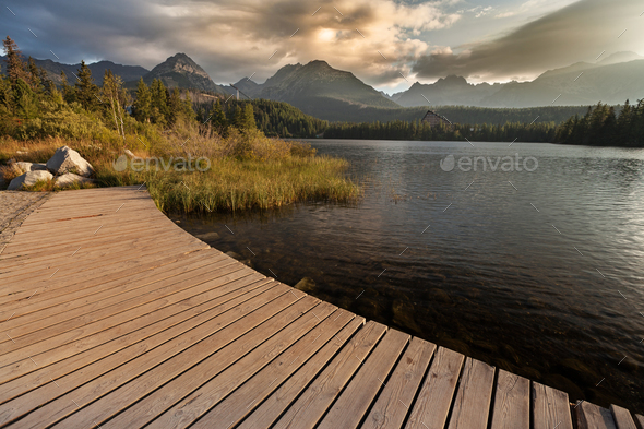 Great view on High Tatra Mountains from Strbske pleso - Stock Photo - Images
