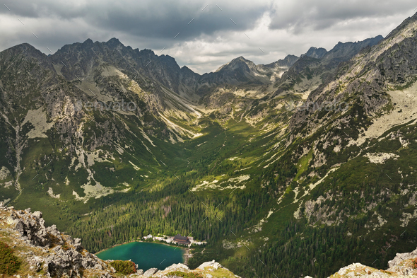Popradske pleso lake valley in High Tatra Mountains, Slovakia, Europe - Stock Photo - Images