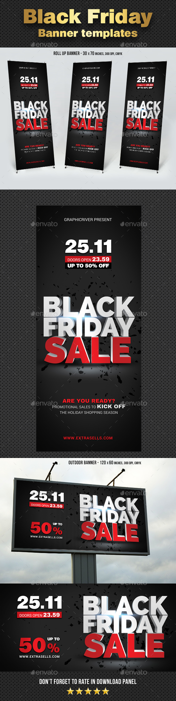 GraphicRiver Black Friday Sale Rollup Banners 21009724
