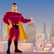 Superhero Presenting in City - GraphicRiver Item for Sale