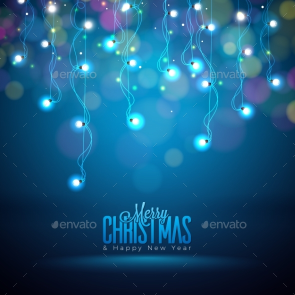 Bright Christmas Lights Illustration on a Dark - Christmas Seasons/Holidays
