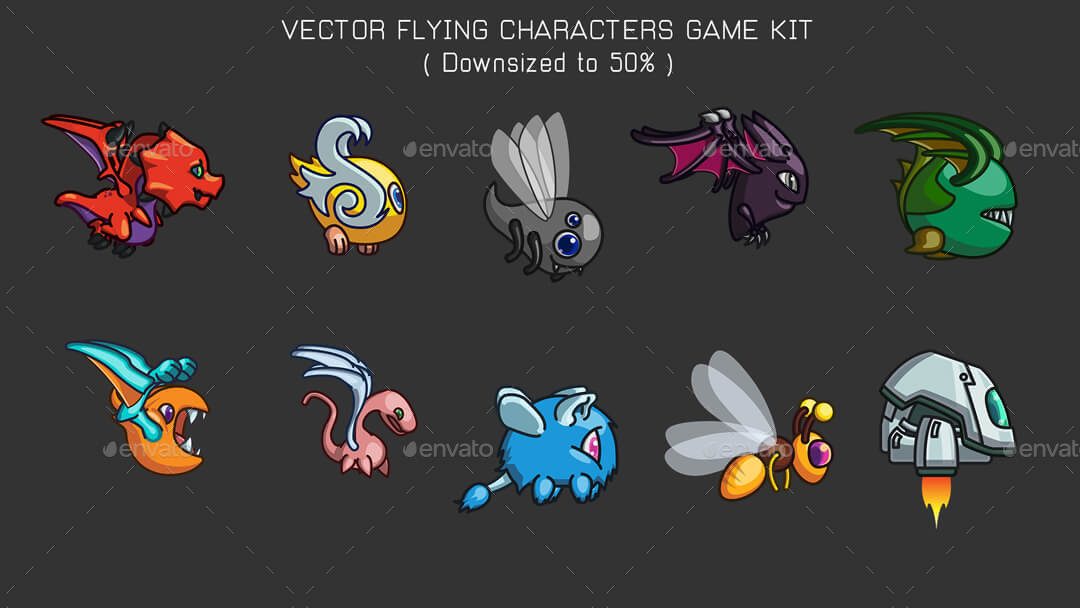 vector game characters sprites bundle cartoon flying and cars by