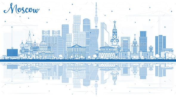 GraphicRiver Outline Moscow Russia Skyline with Blue Buildings and Reflections 21009920