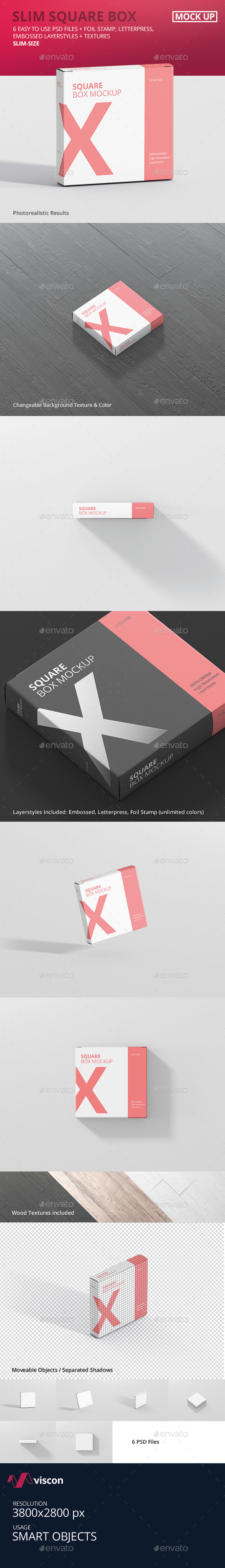 Box Mockup - Square Slim Size - Miscellaneous Packaging