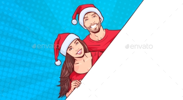 Man and Woman Wearing Santa Hats Advertisement - Christmas Seasons/Holidays