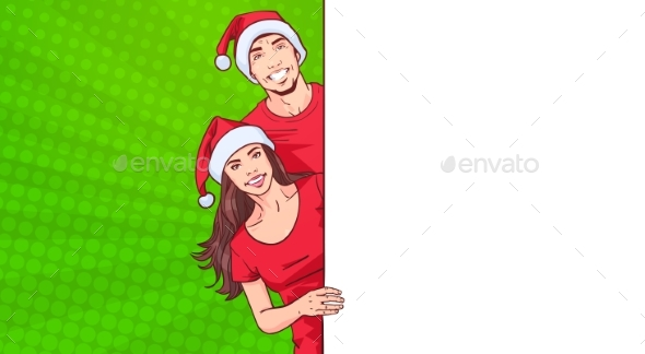 GraphicRiver Man and Woman In Santa Hats Advertisement Banner 21010252