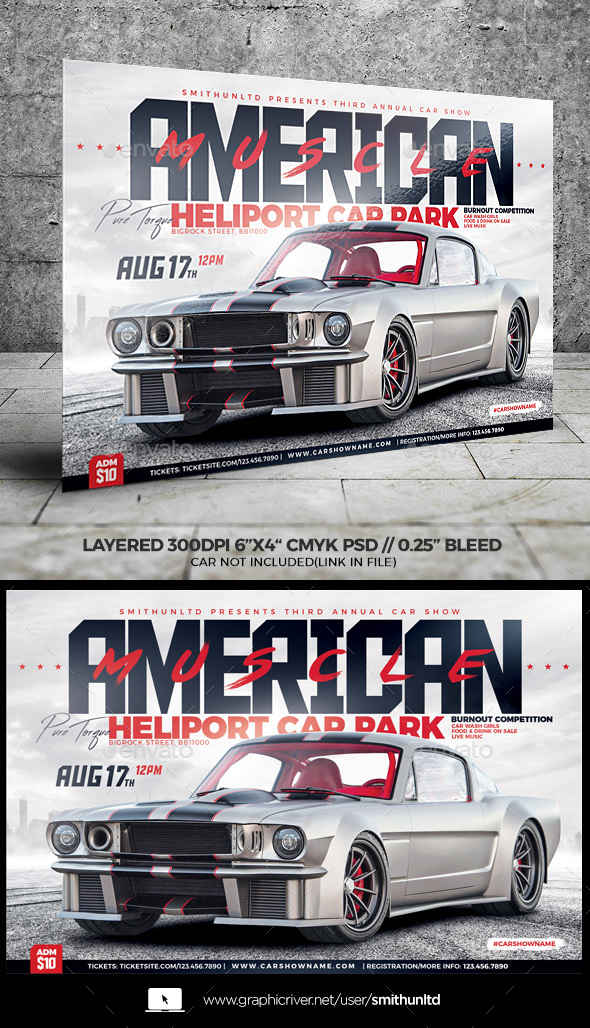 Car Show American Muscle Flyer - Horizontal - Miscellaneous Events