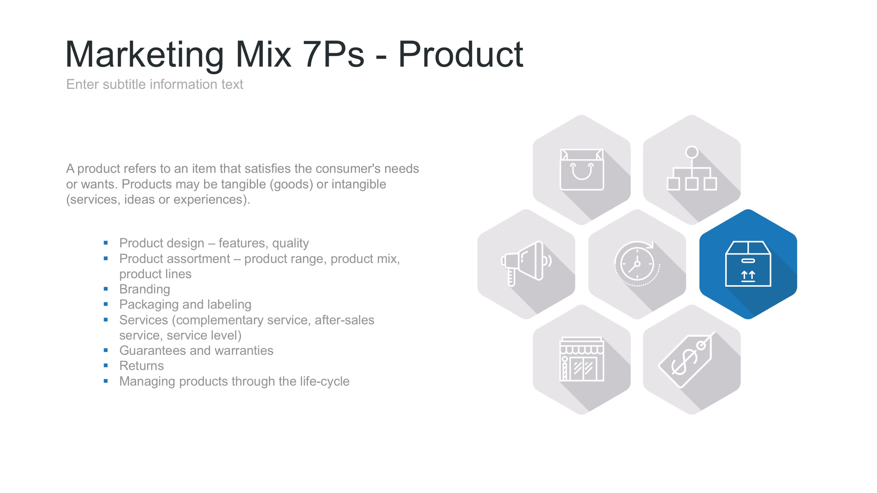 choose a tangible product market mix