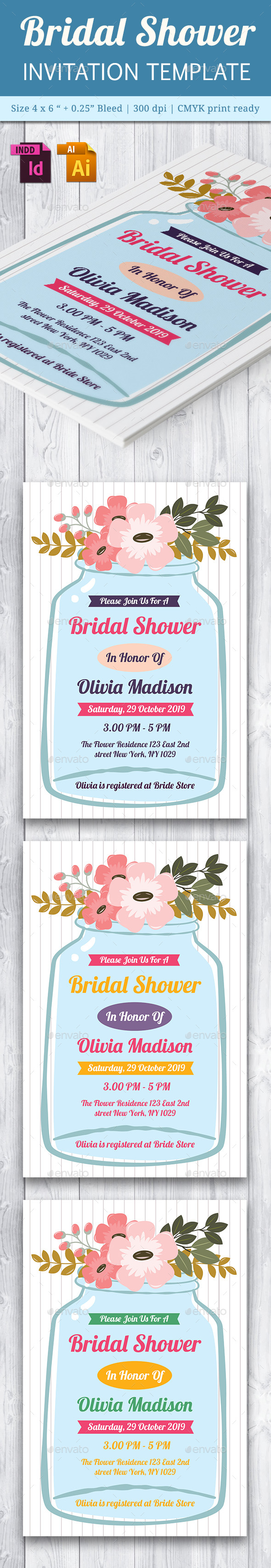 Bridal Shower Invitation Template - Vol. 5 - Cards & Invites Print Templates