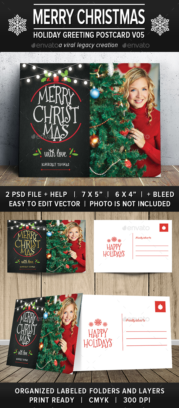 Christmas Greeting Postcard V05 - Greeting Cards Cards & Invites
