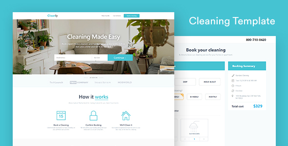 Cleaning Landing Page Template — Cleanly (with Booking Page)
