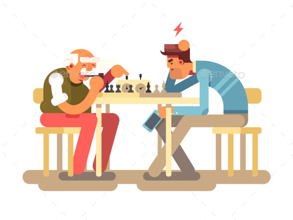 People Play Chess Game - Sports/Activity Conceptual