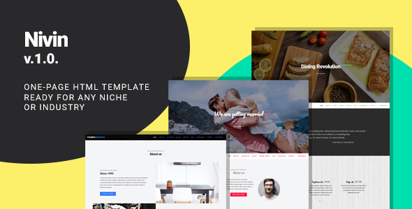 ThemeForest Nivin Multipurpose Creative One-pager Template Wedding Business Restaurant 21010609