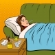 Flu Sick Girl Lies in Bed Pop Art Vector