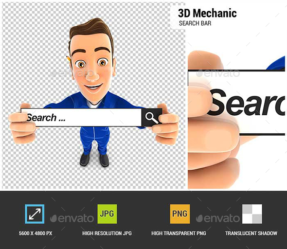 GraphicRiver 3D Mechanic Holding a Search Bar 21010696