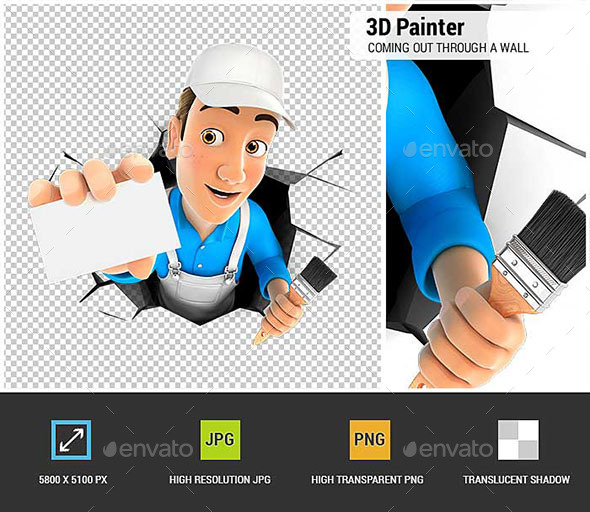 3D Painter Coming Out Through a Wall with Company Card - Characters 3D Renders