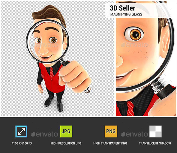 3D Seller Looking into a Magnifying Glass - Characters 3D Renders