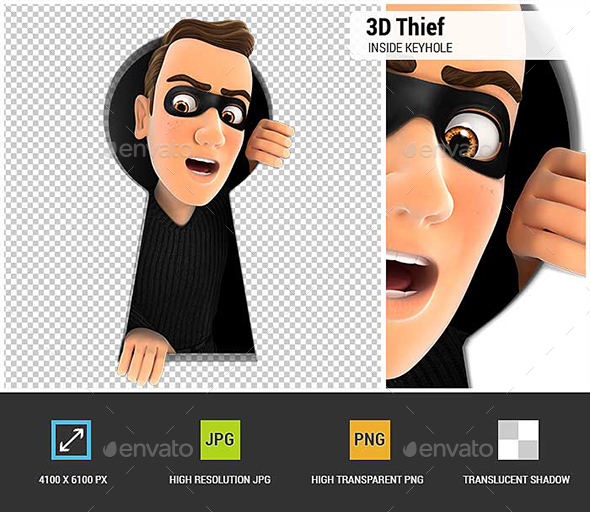 GraphicRiver 3D Thief Inside Keyhole 21010727