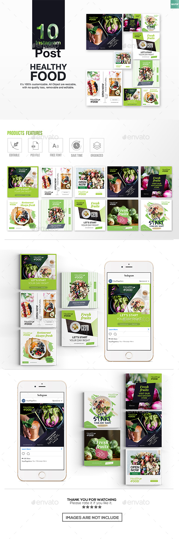 10 Instagram Post Banner-Healthy Food - Miscellaneous Social Media