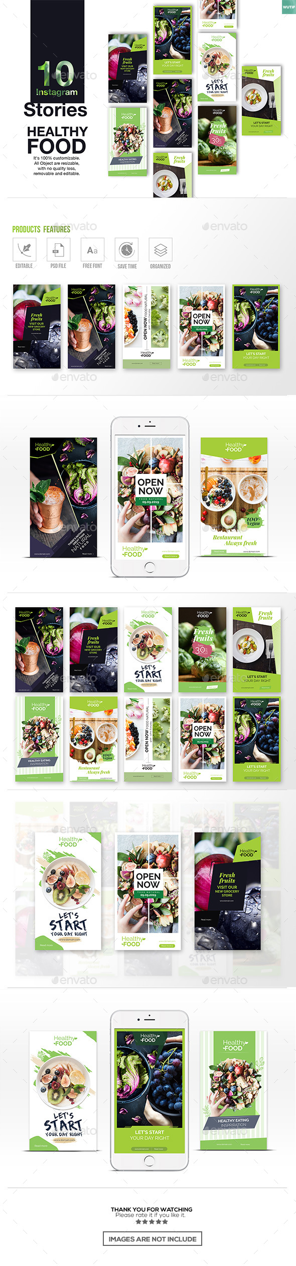 GraphicRiver 10 Instagram Stories Healthy Food 21010981