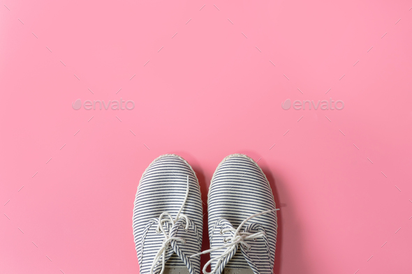 women sneaker isolated on pink background - Stock Photo - Images