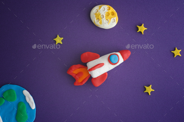 Space Rocket Blasting Off For New Ideas - Stock Photo - Images