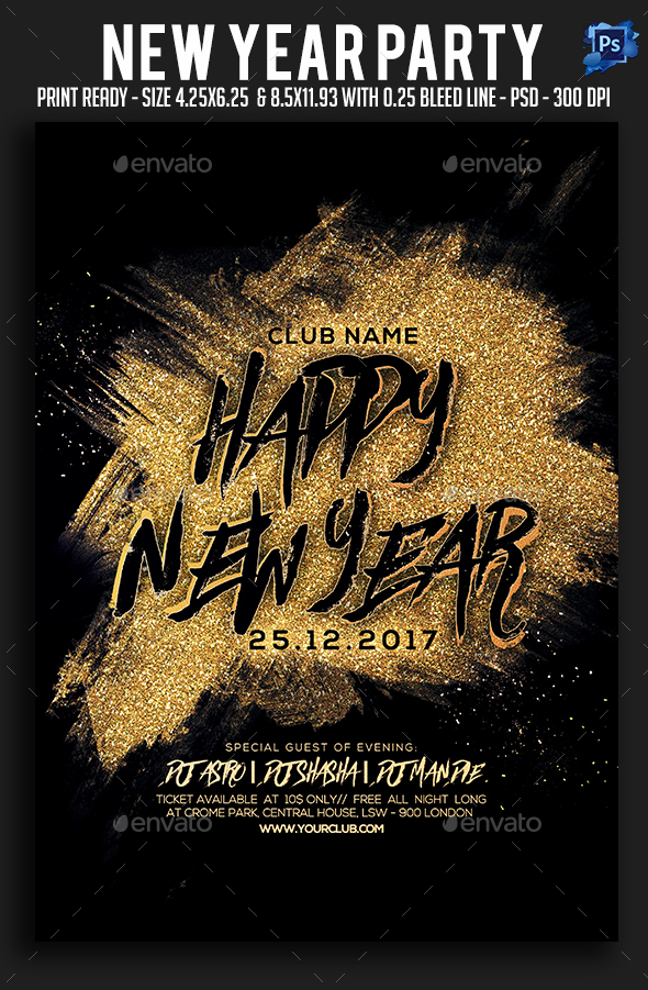GraphicRiver New Year Party Flyer 21011032