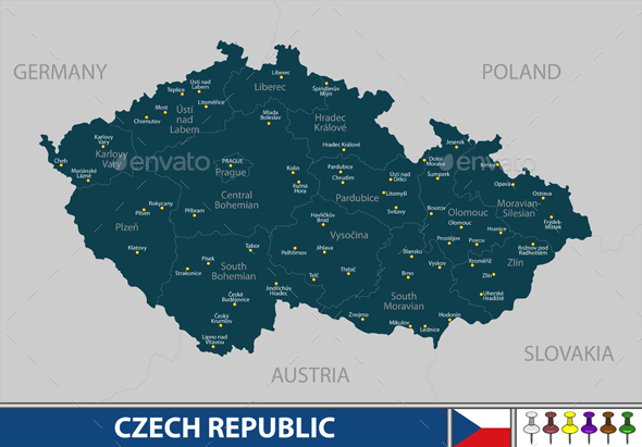 Map of Czech Republic - Travel Conceptual