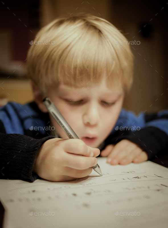 Child Writing to Santa - Stock Photo - Images