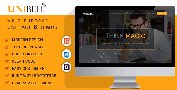 ThemeForest Unibell Multipurpose Onepage WordPress Theme 20792266