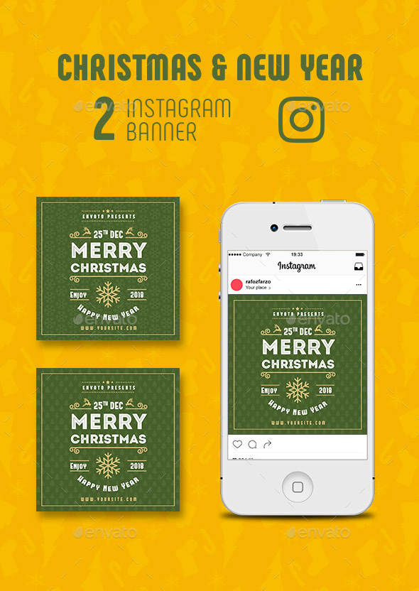 GraphicRiver Christmas New Year Instagram Banner 21011613