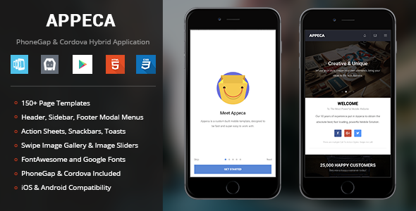 Appeca | PhoneGap & Cordova Mobile App - CodeCanyon Item for Sale