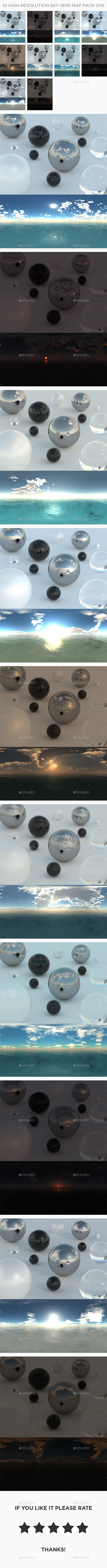 10 High Resolution Sky HDRi Maps Pack 009 - 3DOcean Item for Sale