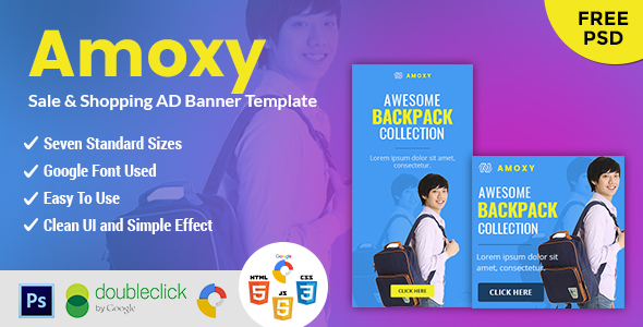 CodeCanyon Amoxy Backpack HTML 5 Animated Google Banner 21011846