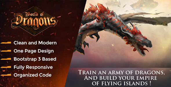 Dragon Game - War Gaming Template - Technology Landing Pages