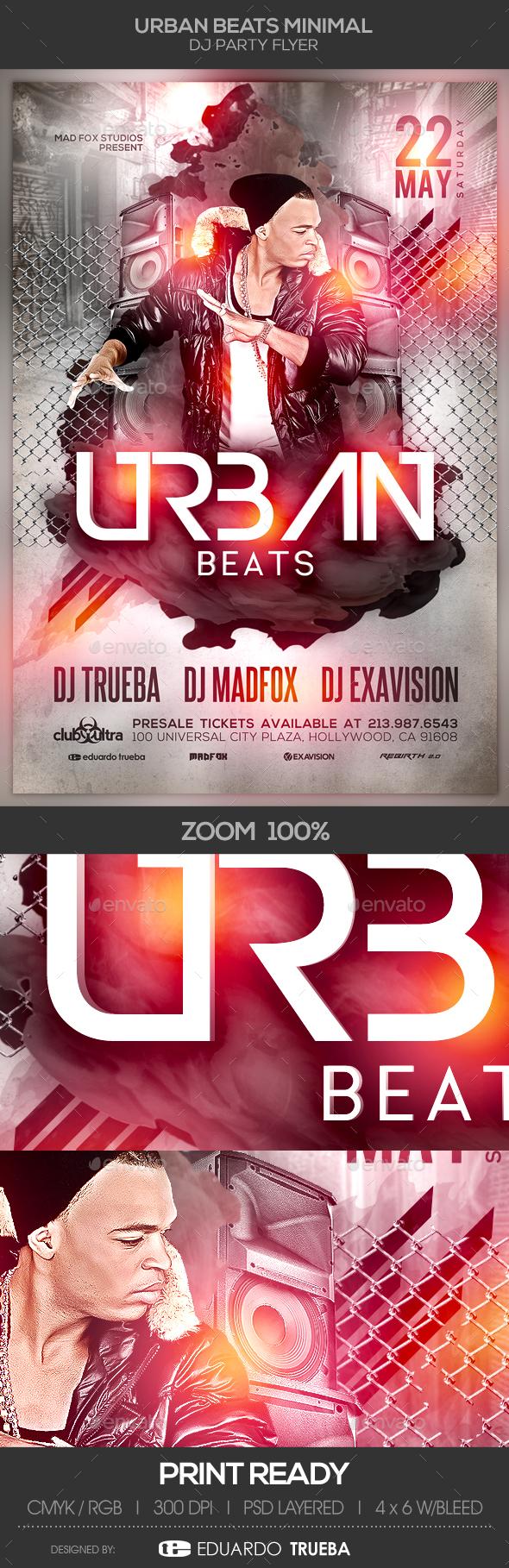 Urban Beats Minimal Dj Party Flyer - Clubs & Parties Events