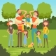 Happy Tired Parents with Many Children in the Park - GraphicRiver Item for Sale