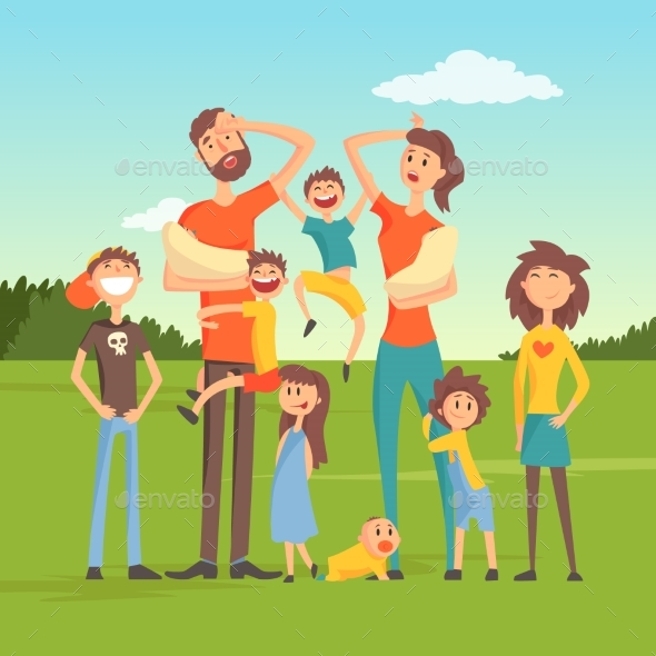GraphicRiver Tired Parents with Many Children on Nature 21012330