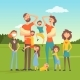 Tired Parents with Many Children on Nature - GraphicRiver Item for Sale
