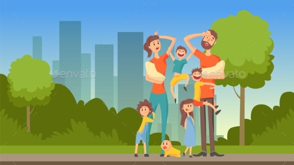 GraphicRiver Happy Tired Parents with Many Children on City 21012341