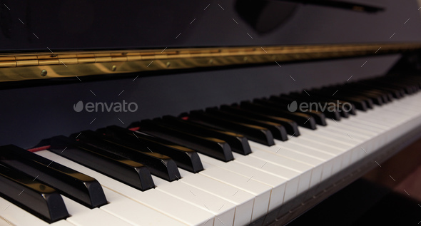Piano keyboard, low angle, selective focus - Stock Photo - Images