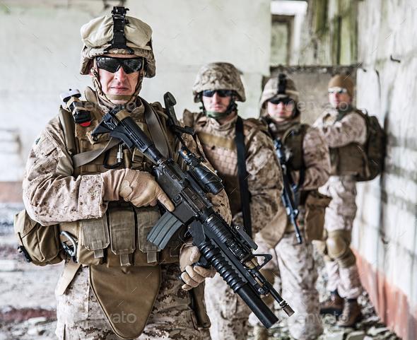 Squad of marines - Stock Photo - Images