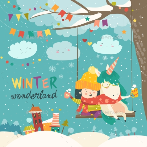 GraphicRiver Cute Girl and Unicorn Swinging in Winter Park 21012905