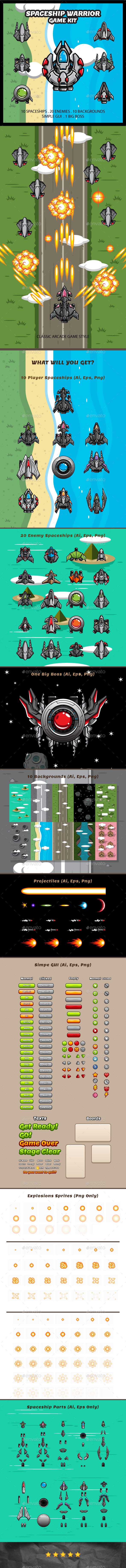 GraphicRiver Spaceship Warrior Game Kit 21003796