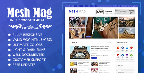 Mesh Mag - Magazine HTML Responsive Template - Entertainment Site Templates