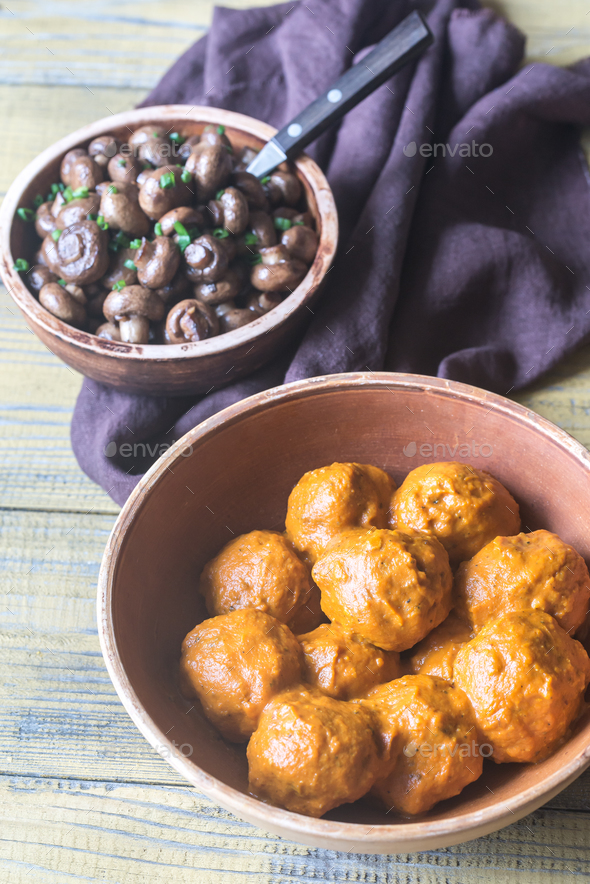 Bowl of turkey meatballs  - Stock Photo - Images