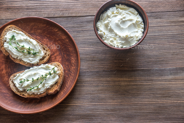 Toasts with cream cheese - Stock Photo - Images