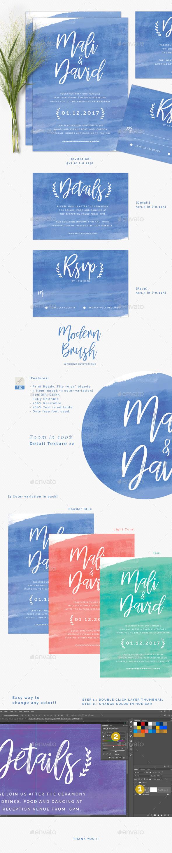 Modern Brush Wedding Invitations - Wedding Greeting Cards